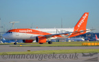 DSC 0012 -- <p>G-UZHA, Airbus A320-200NEO, Easyjet.</ br> 23L Hold Point, Southside, Manchester Airport, 14th May 2018.</p>