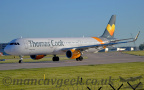 DSC 0029 -- <p>G-TCDH, Airbus A321-211, Thomas Cook, lining up on Runway 23L at Manchester Airport, 14th May 2018.</p>